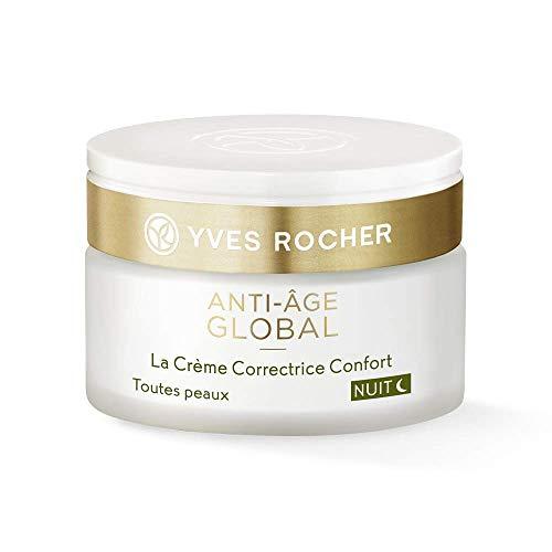 Yves Rocher ANTI-AGE GLOBAL korrigierende Verwöhn-Creme Nacht, Anti-Falten Gesichtspflege für die Nacht, 1 x Glas-Tiegel 50 ml -