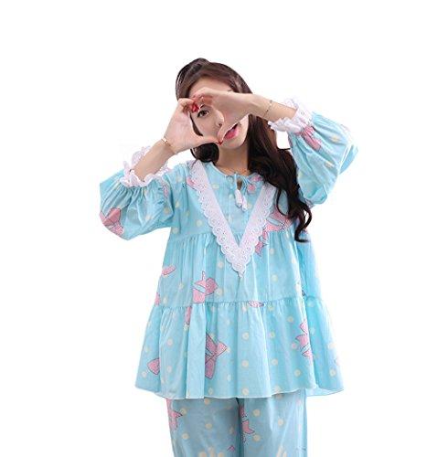 Bleu à manches longues en coton en vrac, dessins animés, doux, Lady, pyjamas, deux pièces, coton, coton, étudiant, manches longues, habillement ( Couleur : Bleu , taille : L ) Bleu