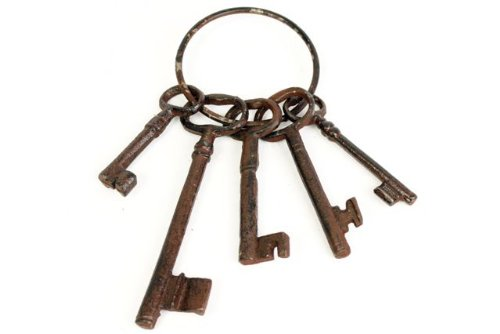 Vintage Rustic Iron Bunch of Keys & Key Rings Garden Ornament Decoration