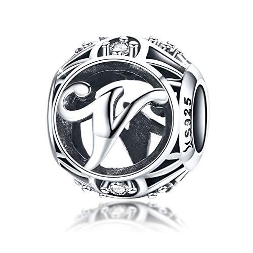 Charm-Anhänger Buchstabe V für Pandora-Charm-Armband, 925 Sterlingsilber, Zirkonia, für Armband und Halskette