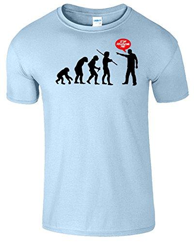 Evolution Stop Following Me Komisch Herren T-Shirt Hellblau