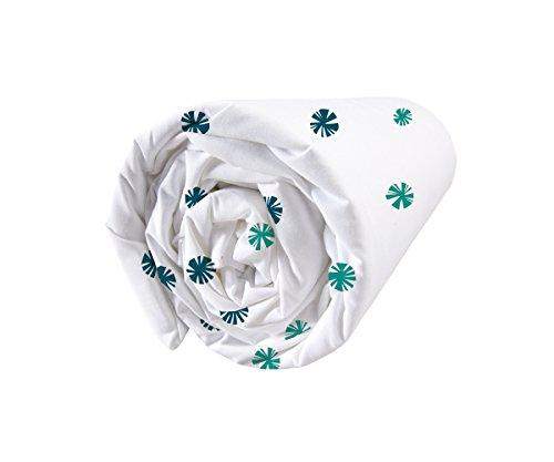 Matt & Rose 044373 Fleurs Graphiques Drap housse Coton Emeraude/Marine 200 x 90 cm