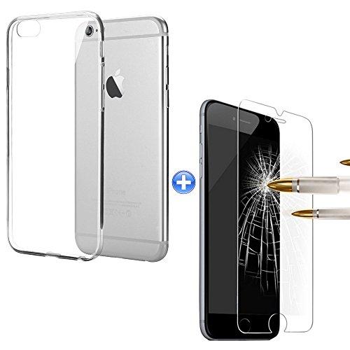 TMTmove® iPhone 6 Plus Silikonhülle Transparent Schutzhülle ( transparent ) Handyhülle Tasche Case Cover Bumper + Schutz Glas Folie 9H Iphone 6 Plus Bereich