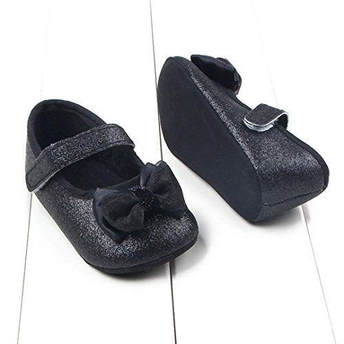 Hunpta Neue jungen Lauflernschuhe Kleinkind Mädchen Bowknot leuchtende Pulver weichen Sohle Krippe Schuhe Babyschuhe (12, Gold) Schwarz