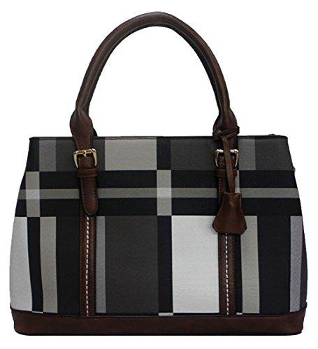 Kukubird Zaida Ecopelle Multicolore Blocco Pattern Design Top-manico Spalla Tote Handbag Black