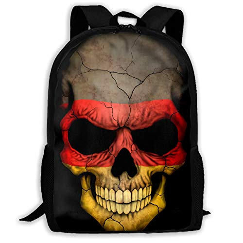 YOUVVI Rucksack,Schulrucksack,German Flag Skull Backpack Laptop Bags Shoulder Bag College Daypack Backpacks for Unisex (German Flag Bag)