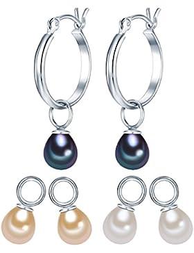 Valero Pearls Classic Collection Damen-Creolen Hochwertige Süßwasser-Zuchtperlen in ca.  5-6 mm Tropfenform weiß...