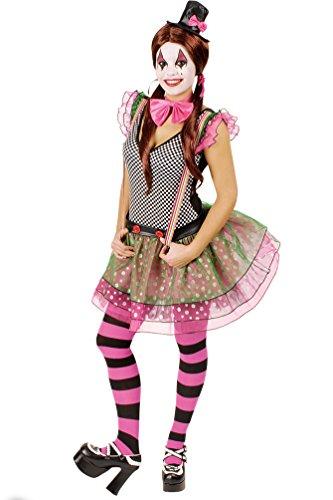 Kostüm Sexy Clown Harlekin - Karneval-Klamotten Clown Harlekin Kostüm Damen Frauen sexy Narren-Kostüm neonfarben bunt Größe 40/42