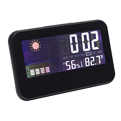 Lanker Monitor De Humedad De Temperatura Interior - Reloj De Escritorio Multifuncional, Calendario...