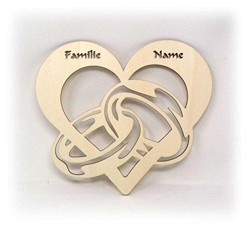 Partner Familienschild Türschild Herz Ringe mit Namen Geschenke für Verliebte Hochzeit Verlobung personalisiert