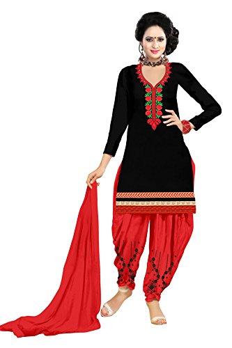Alazra Creation Women\'s Cotton Unstitched Patiala Suit (Black_Free Size)