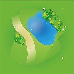 playmatt Spielmatte – Graslandschaft mit Teich | rutschfest | 100% schadstofffrei | waschbar