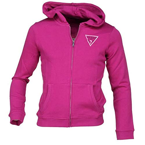 Guess Kapuzen-weste (Guess Mädchen-Sweatshirt mit Reißverschluss, Fuchsia Gr. 16 Jahre, violett)