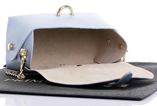 Borsa A Tracolla Da Sera Con Mini Tracolle Micro In Pelle Italiana Con Tracolla A Catena In Metallo. Contiene Sacchetto Protettivo Di Protezione Blu Chiaro