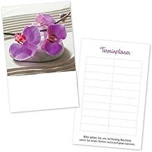 100 stempelbare Terminkarten mit ZEN-Motiv und rosafarbener Blüte - mit 10 Terminfeldern und Stempelfläche