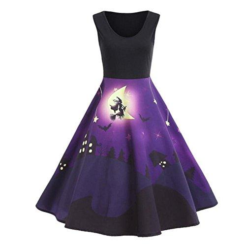 Fancylande Disfraz Vestido Halloween, Retro Halloween Modelo Impresión Grande Vestido sin Mango, Morado, XXL