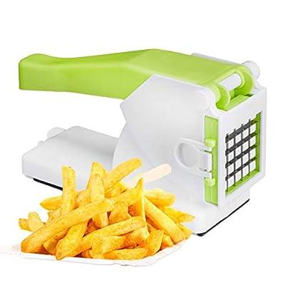 Relaxdays 10024688 Coupe-frites professionnel avec 2grilles, coupe-légumes professionnel manuel, multi-usage pour les fruits et les légumes, blanc/vert