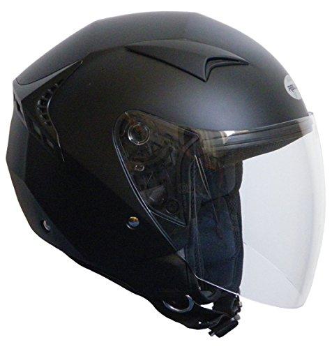 Jethelm Helm Motorradhelm RALLOX G240 schwarz/matt mit Langvisier (S, M, L, XL, XXL) Größe M