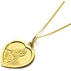 Collier en Or Jaune 9 Carats et Pendentif Cœur Médaille de Saint-Christophe - 41cm