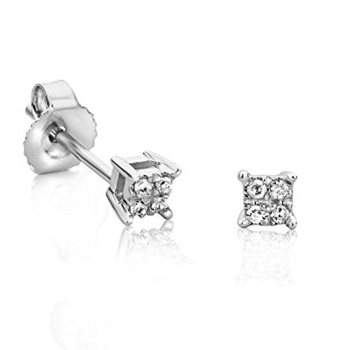 Orovi Ohrstecker Diamant Ohrringe Set ,Damen Weißgold Ohrstecker 9 Karat (375)Brillanten 0.03crt