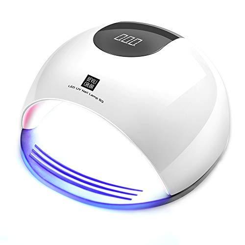 Lámpara LED UV Uñas,  HALOViE 80W Lámpara Secador de Uñas LED UV Gel Esmalte de Uñas Curado Luz Máquina Pantalla LCD Táctil Sensor Automático con 4 Temporizadores Profesional para Manicura Pedicura