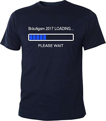 Mister Merchandise Herren Men T-Shirt Bräutigam 2017 Loading Tee Shirt bedruckt Navy