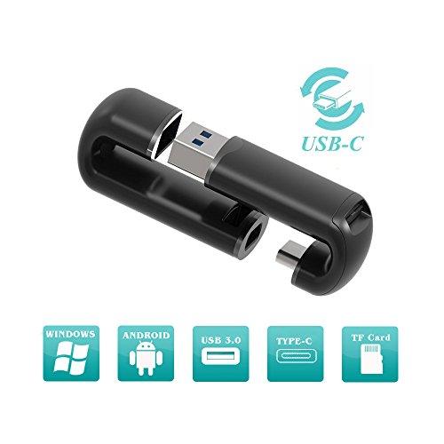 USB C TF lector de tarjetas, USB tipo C C y USB 3.0adaptador de tarjeta TF, OTG a USB 3.0adaptador con USB estándar y tipo C conector para PC y teléfono/portátiles/Tablets [teléfono móvil diseño de soporte]