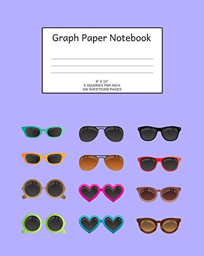 Graph Paper Notebook: Sunglasses; 5 squares per inch; 8