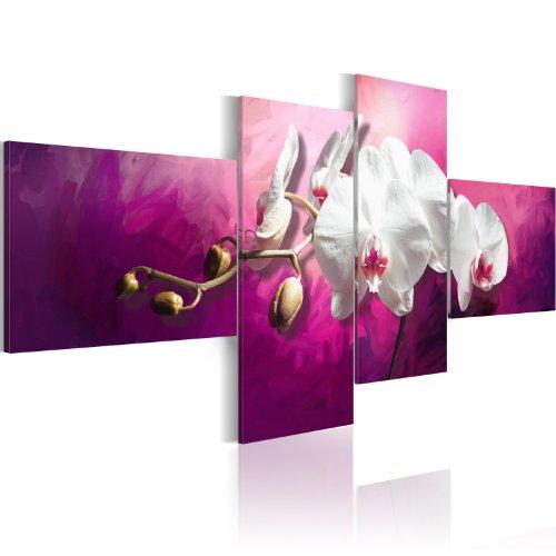 Bilder XXL & Fertig Aufgespannt & Top Vlies Leinwand + 4 Teilig + Blumen + Wand Bilder 020110-90 + 100×45 cm +++ Riesen Bilder Kunstruck Wand Bilder Auswahl in unserem Haendlershop +++