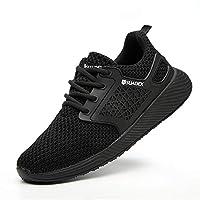 أحذية SUADEX Steel Toe أحذية عمل آمنة للرجال والنساء أحذية غير قابلة للتدمير أحذية عمل مقاومة للانزلاق خفيفة الوزن أحذية بناء صناعية B أسود مقاس 7.5 نساء/6 رجال