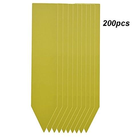 Lot de 200 Jaune PVC Platique étiquettes des Plantes Coloré Jardin Marqueurs