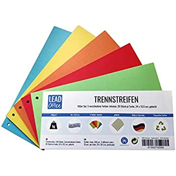 Trennstreifen Trennblätter für DINA4 Ordner bunt Farben 24 x 10,5 cm gelocht Neu