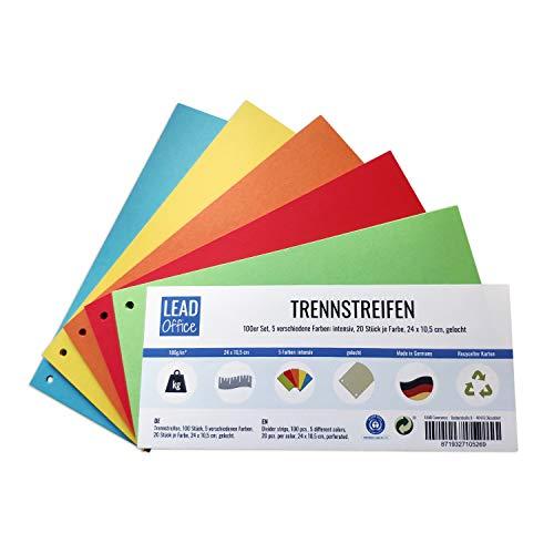 Trennstreifen, 100 Stück, 5 Farben: intensiv, 20 Stück je Farbe, 24 x 10,5 cm, gelocht, 160g/m², zum Sortieren und Trennen von Dokumenten bis DIN-A4-Format