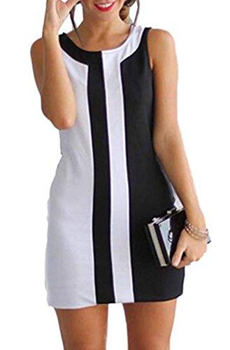 Bekleidung Kleid Loveso Sommerkleid Damen Mode Elegant Neuheit Schwarz und Weiß Stitching Farbe Ohne Arm Polyester Kurzes Kleid Slip Dress ((Größe):44 (3XL), (Make Und Weißen Schwarzen Up)