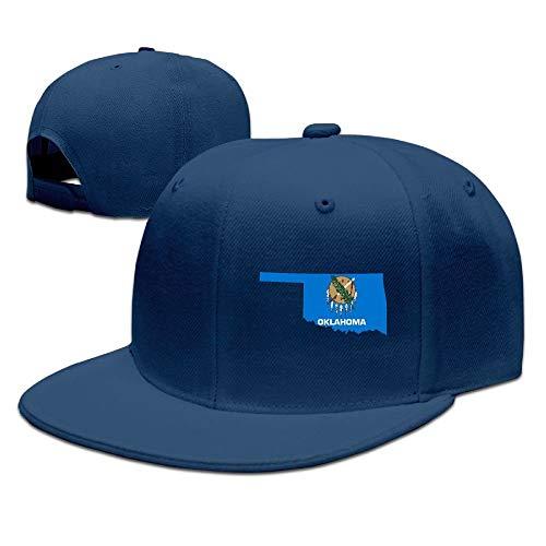 Confederate Flag Design (Map of Oklahoma Flag Design Solid Flat Bill Hip Hop Snapback Baseball Cap Unisex Sunbonnet Hat.)