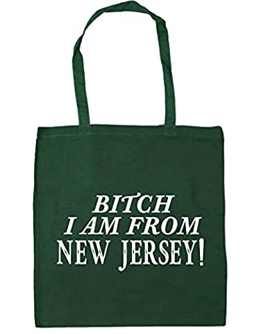 hippowarehouse Bitch I Am From New Jersey Sac Shopping Gym Sac de plage 42cm x38cm, 10litres - vert - Taille unique