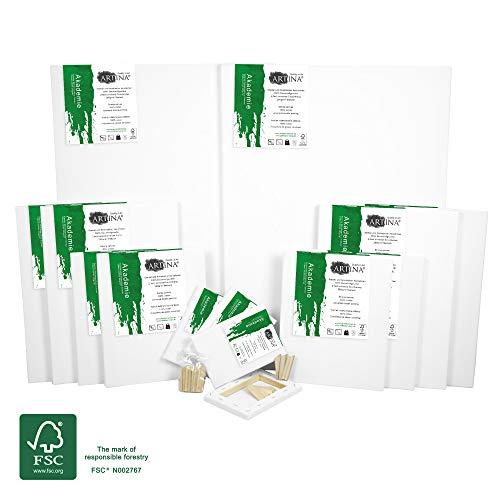 Artina Akademie FSC 14er Keilrahmen Set - 50x70 cm, 30x40 cm, 24x30 cm, 13x18 cm Leinwand Keilrahmen Set - 100% Baumwolle 280g/m²