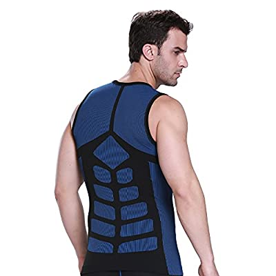 YFFUSHI Men's Core Compression Vest Fit Slim Body Tummy Vest Waist Cinching Trimmer Sculpting Slimming Shapewear