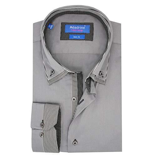 Meadrine Mann Hemd Slim fit grau anthrazit Doppel-Kragen Auskleidungen Kratzer und hat weiße Tupfen schwarz aus Reiner Baumwolle - XL, Grau
