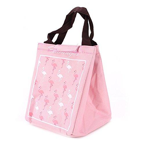 qearly Flamingo Motif Outdoor Bento Sac Sac isotherme Cooler Sac de pique-nique sac isotherme Rosa