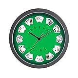 """CafePress-Poker Time verde reloj de pared de fieltro, único decorativo 10""""reloj de pared"""
