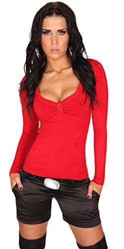 KouCla Pull col V finement côtelé femme taille unique (32à 38) Rouge - Rouge