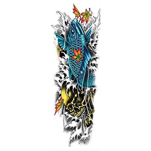 kashyk 1pc temporäre Full Arm Tattoo-Aufkleber, Full Arm Tattoo-Aufkleber, große grüne Aufkleber, Body Art Tattoo-Aufkleber, wasserdicht, schweißdicht, Maskerade Tattoo-Aufkleber, Hochzeit, Halloween