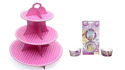 Disney Prinzessin/Princess - Muffin Set: große Etagere/Tortenständer 3 Ebenen - mit 50 Muffinförmchen ideal zum Kindergeburstag oder Mädchen Mottoparty