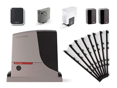 Nice-ROBUS-500-HS-RB500HS-motor-SMXI-receptor-ON2E-transmisor-EPMB-par-de-fotoclulas-ELDC-Luz-intermitente-para-el-accionamiento-rpido-de-puertas-correderas-de-hasta-8-m-o-500-kg-24-Vdc-8m-Cremallera-