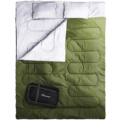 Reehut Schlafsack Deckenschlafsack mit kleinstem PackmaßCamping, Rucksackreise, Wandern, Zelt, Outdoorund Indoor große Queen Size XL Zwei Personen Doppelschlafsack 0 °C, leicht und kompakt