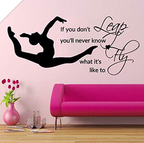 Pbldb Leap Fly Girl Schlafzimmer Aufkleber Gymnastic Vinyl Aufkleberbett Dekor Zitate Sport Art Schablonen Für Wände Diy92X42Cm