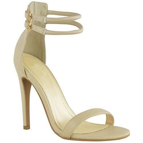 Nuovo Womens Ladies Caviglia Con bretelline Barely There Sandali Estivi Scarpe Da Festa misura UK Pelle Pelle Di Lucertola Simil Pelle