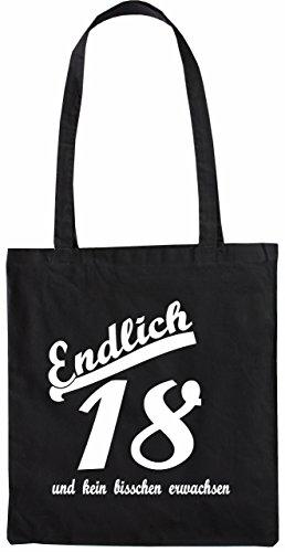 Mister Merchandise Tasche Endlich 18 und kein bisschen erwachsen Stofftasche , Farbe: Schwarz Schwarz