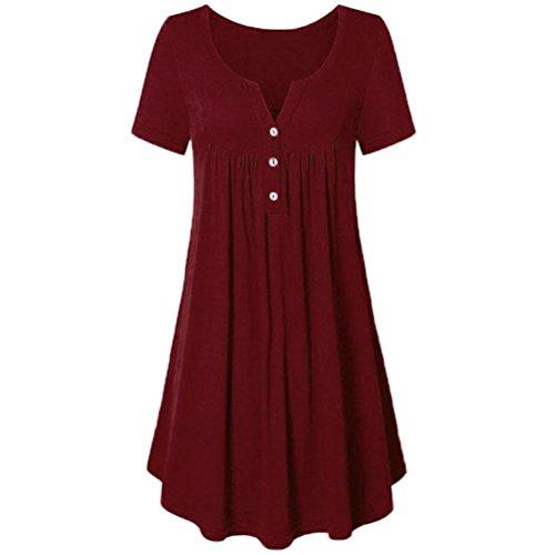 QUINTRA Women Loose V Neck Tunic Casual Mini Dress Pockets Boho Solid T-Shirt Dresses